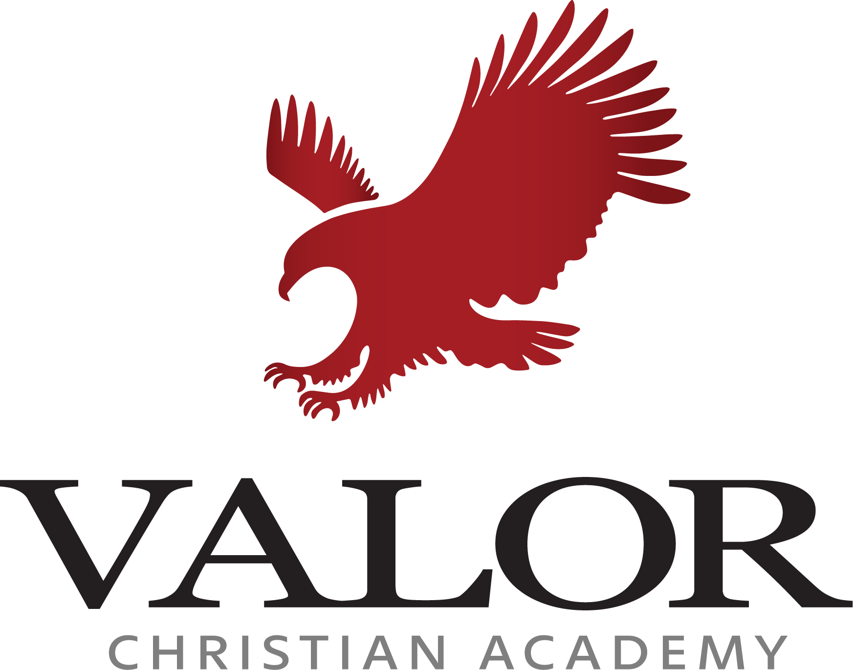 Logo for Valor Christian Academy with red eagle - links to home page