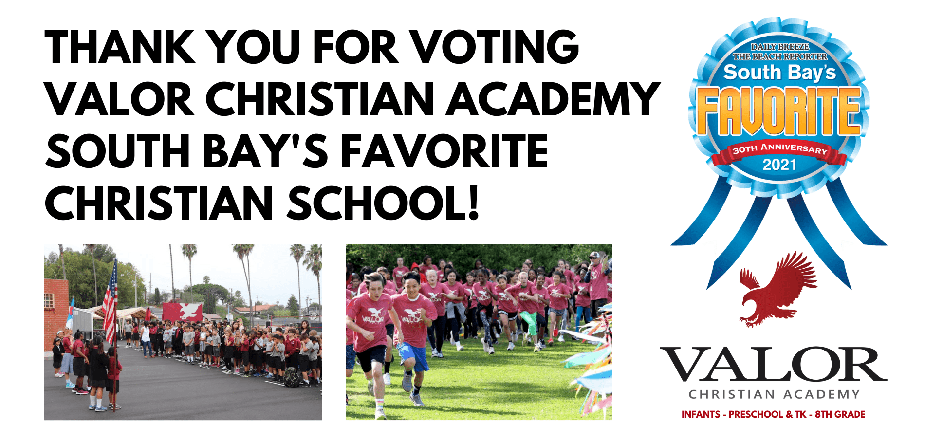 Valor Christian Academy selected as South Bay's Favorite Christian School 2021