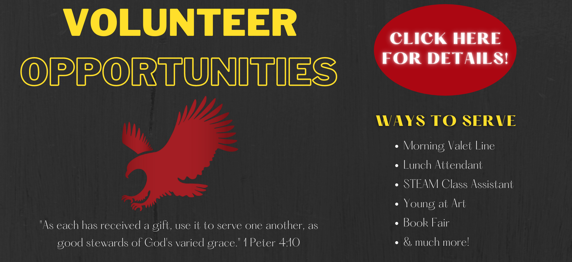 Volunteer Opportunities at Valor Christian Academy with link to Volunteer web page