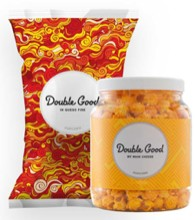Double Good Popcorn in bag and jar